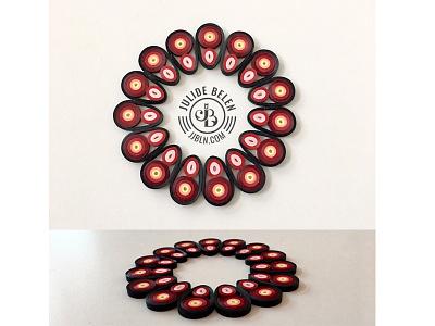 JJBLN   Coaster curling black red illustration paper art quilled paper art quilling coaster
