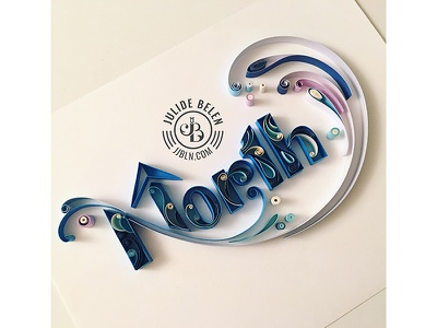 JJBLN   North winter cold blue paper art typography quilling quilled typography north