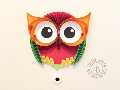 JJBLN | Hoot Hoot colorful paper illustration illustration quilled paper art paper art quilling door owl