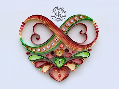 JJBLN | Custom Infinity Heart Quilling Paper Art lively valentines day paper illustration colorful quilled paper art quilling love heart paper art