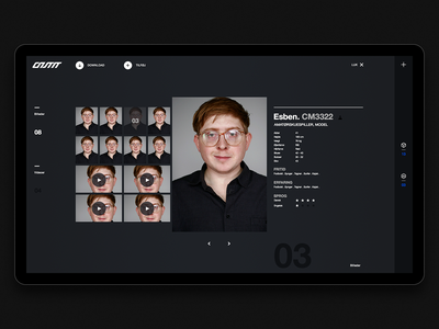 CASTIT – Model page blue designer agency icon minimalistic digital interface ux typography ui graphic-design design