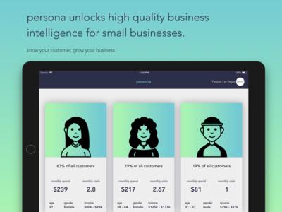 Persona, a Money2020 hackathon project b2b ipad market research business intelligence money2020