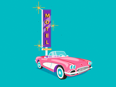 L 36 days of type 36daysoftype classic illustration sing vegas hotel motel vintage car