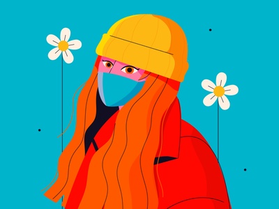 portrait safe mask flower woman girl niñaborona costarica illustration red hair portrait