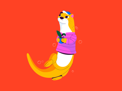 Otter nature costarica illustration 36daysoftype cute animals cute nutria otter