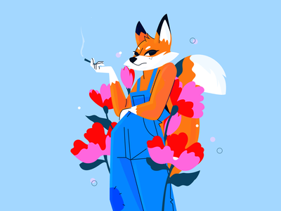 foxy flower smoke costarica illustration ill cute character design flowers fox