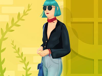 Aranjuez de moda illustration yellow green blue pants bag costarica outfit city girl fashion vogue