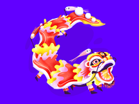 Chinese dragon - letter C