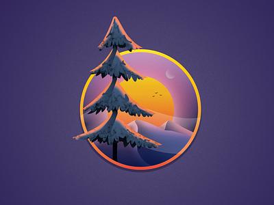 B / Landscape winter 2d art illustrator sunset tree landscape vector art illustration graphic design