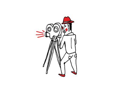 Cameraman pen filming hat man line cartoon white red illustration doodle cameraman