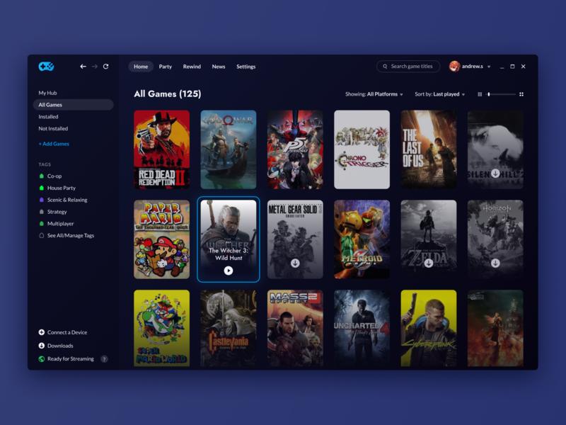 Rainway Dashboard 2.0 rainbow web windows pc launchers steam games collection library esports gaming ui dark rainway