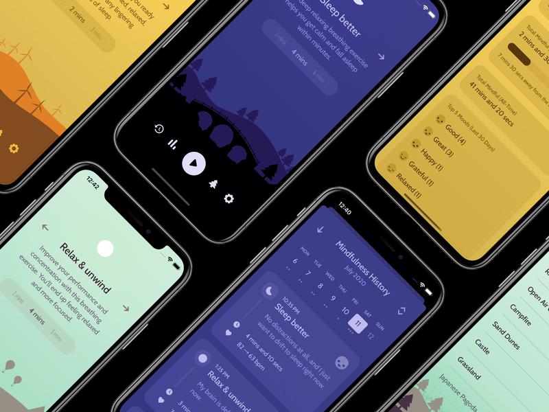 Unwind 2 - Final Designs app design iphone app iphonex mindfulness meditation timeline stats nature illustration iphone 11 iphone x ux ui iphone mobile calm breathing unwind