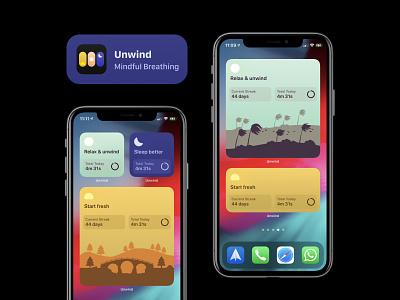 Unwind Widgets on iOS 14 streak illustration serene nature unwind ios 14 ios14 widgets widget mindfulness breathing calm meditation iphone app