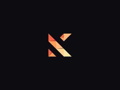 Personal Mark fold flat origami triangle portfolio k logo mark identity personal