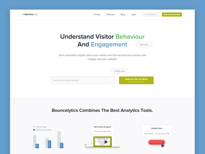 Bouncelytics New Landing Page software saas product design ux ui app web website page landing