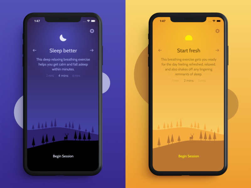 Unwind - Mindful Breathing mindfulness meditation app unwind calm peace mobile ios iphone ui design app