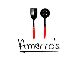 Amarros restaurant italian red black script