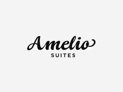 Amelio Suites logo sign script sans serif minimal