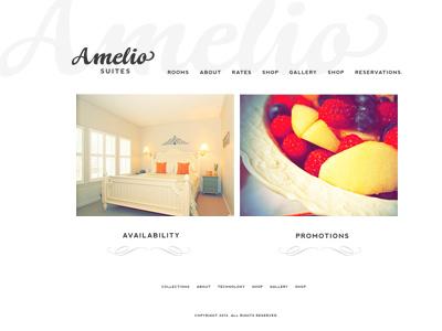Web design for Amelio minimalist hotel bed and breakfast simple web design