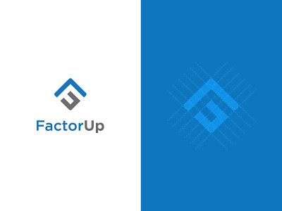 FactorUp logo graphic design design branding logo