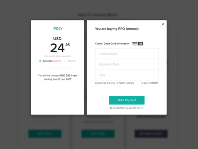 Pricing Modal modal payment pricing