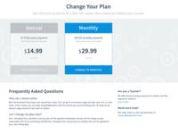 Pricing Page - Change Plan