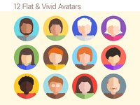12 Flat Vivid Avatars
