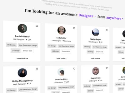 User profile cards