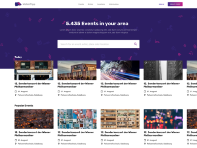 Events UI/UX - Homepage Search
