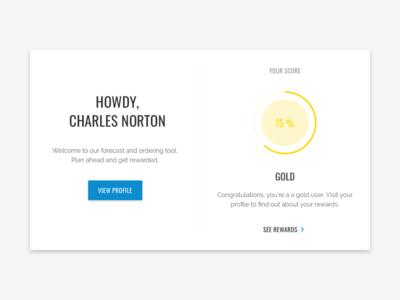 Dashboard profile rewards