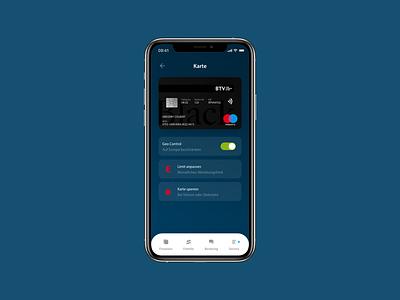 Banking App Card Settings product design bank fintech app app design ux ui dark ui material design mobile ui mobile settings bank card card app fintech banking app banking