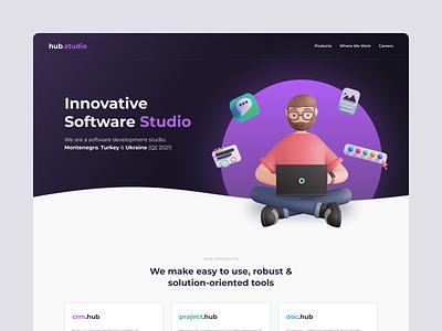 hub studio branding corporate web product colorful clean flat 3d ui landing page