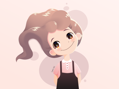 Littile girl vector art illustration girl