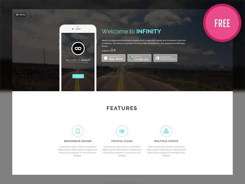 Bootstrap Mobile Template | Infinity Free Bootstrap Mobile App Template By Audain Designs
