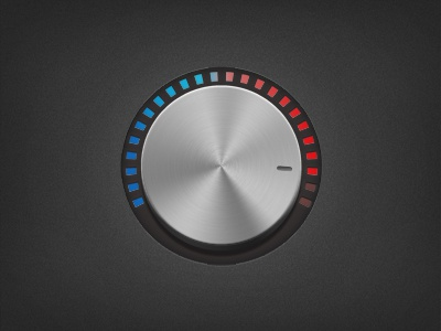 Heat knob ui knob red blue heat dial metal