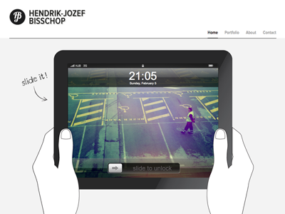 Ipad element ipad portfolio webdesign slide hands unlock screen
