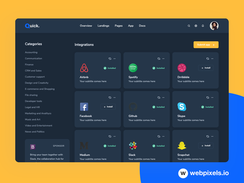 Quick - Dark Admin Panel for App Management website template dashboard ui theme bootstrap4 responsive design dashboard ui admin panel admin management apps