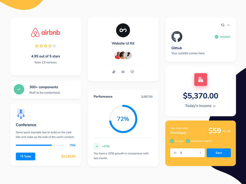 Quick - 300+ fully-coded components template website bootstrap code admin panel measure analytics stats rating avatar pricing charts cards components dashboad