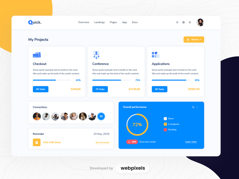 Quick - Project Management / Dashboard bootstrap dashboard template cards measure analytics vectors charts admin panel admin project management projects dashboard