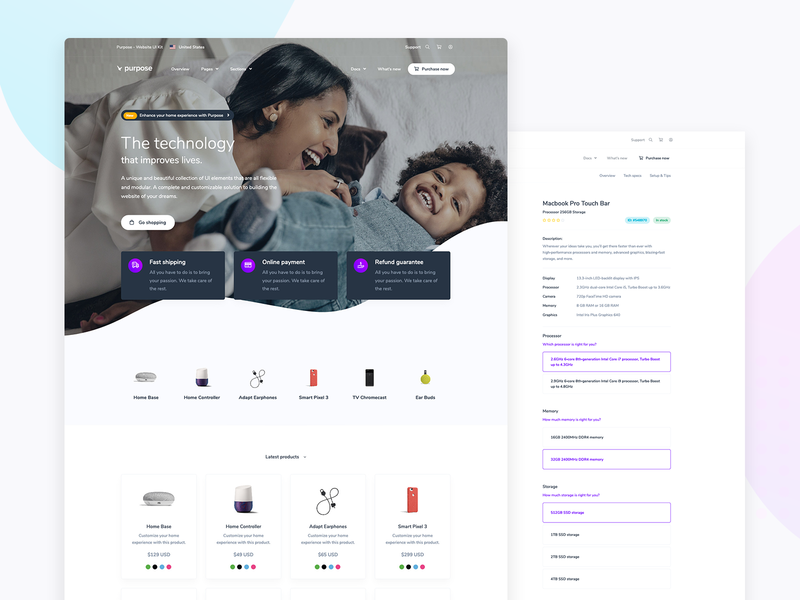 Purpose - E-commerce and Checkout Pages uiux landingpage products page products theme bootstrap online store buy shop e-commerce