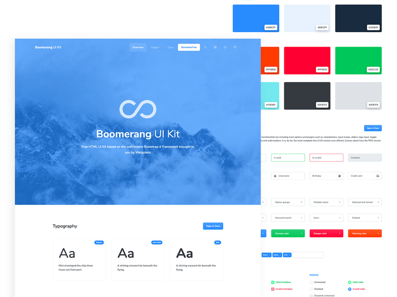 Boomerang - Free Bootstrap UI Kit colors typography business cards buttons component startup agency business freebie theme bootstrap uikits free