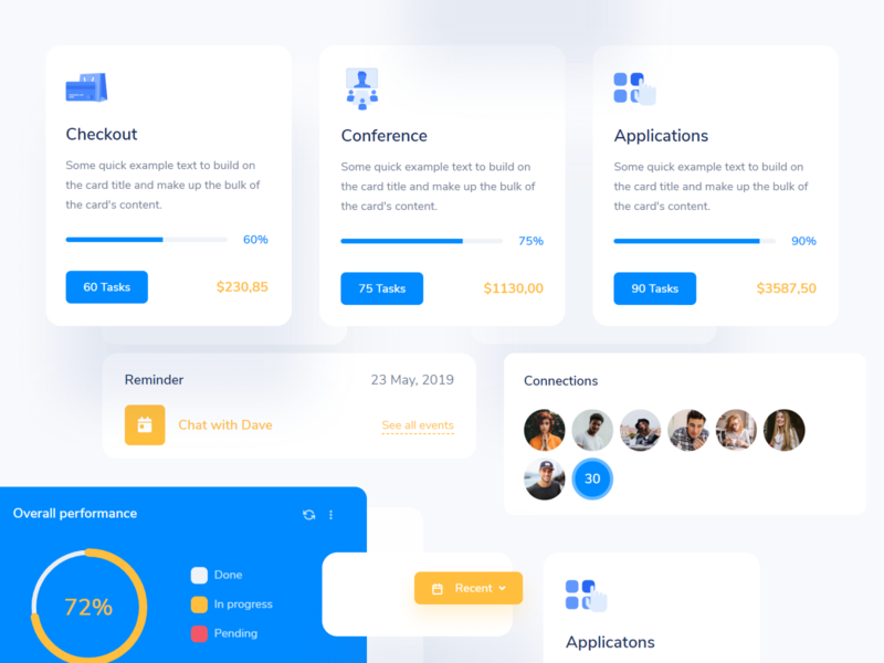 Quick - App Components and Card UI analytics dashboard app ui webapp project cards ui cards components