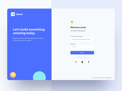 Login Screen - Clever Dashboard UI Kit dashboard theme application interface uidesign figma ui button form register signin signup security authentication login