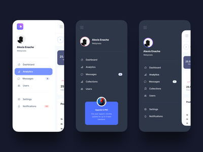 Mobile Navigation - Clever Dashboard UI Kit ui user interface modern clean dark mode ux design side menu sidebar responsive app dashboard mobile app navigation mobile