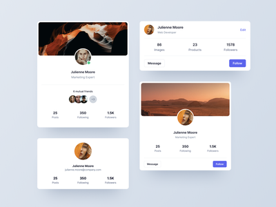 Profile cards - Webpixels Components cards application dashboard cards ui ui  ux ui modern bootstrap stats avatar element component card profile