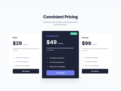 Pricing Plans Section - Webpixels Components bootstrap components template ui subscription marketing business saas plans pricing website