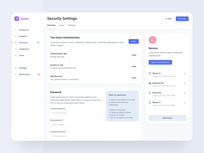 Account Settings Template - Webpixels sidebar modern bootstrap templates components web app ui forms password security management account settings application dashboard