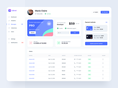 Billing Settings and Payments - Webpixels ui bootstrap interface modern cards components settings billing payment card template web app application dashboard