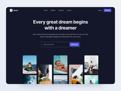 Creative Landing Page - Made by Webpixels uiux website template header section hero components bootstrap ui design landing page