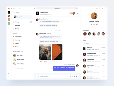 Chat Screen - Made by Webpixels dashboard bootstrap crm team messages components ui template conversation discussion inbox mailbox chat